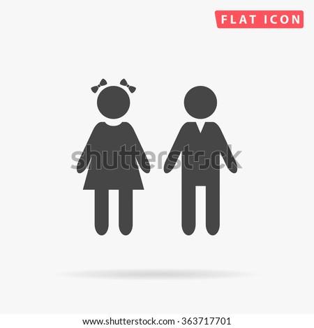 Girl and Boy Icon Vector.  - stock vector