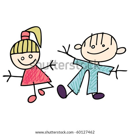 Girl and Boy kids doodles - stock vector