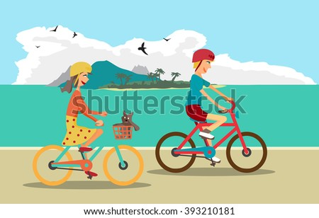 Girl and boy ride the bike on the beach. Healthy leisure and freedom riding bike. Boy and girl in a bicycle helmet pedaling on summer time. Sea shore in summer time. Flat vector color illustration - stock vector