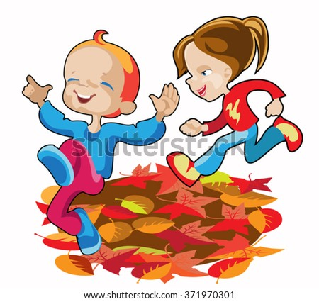 girl and boy running through the autumn 