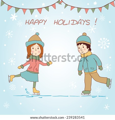 Girl and boy skating. Background. - stock vector