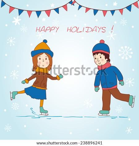 Girl and boy skating. Beautiful background. Vector illustration. - stock vector