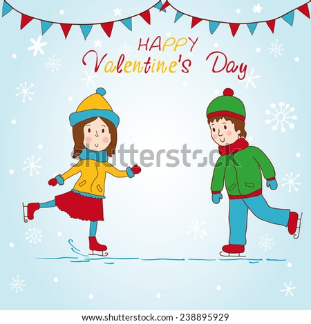 Girl and boy skating. vector background. - stock vector