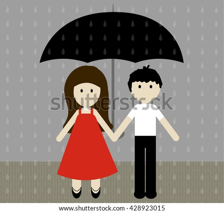 Girl and boy with umbrella in the pouring rain. Vector illustration. Boy and girl in a beautiful dress holding hands in the summer rain.