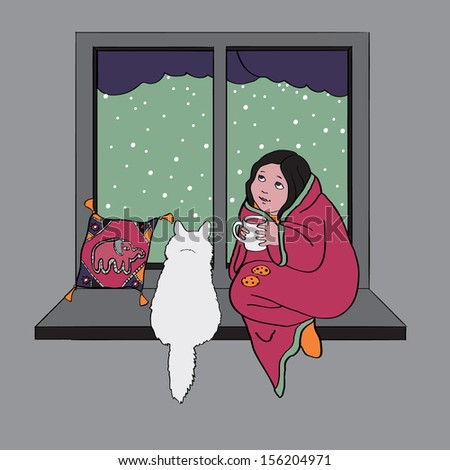 Girl and cat sitting at window cute scene for your design  - stock vector