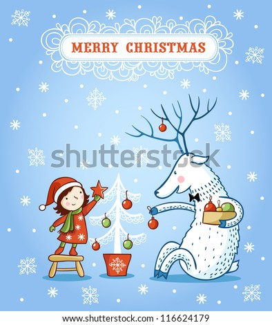 girl and deer decorate a Christmas tree. Christmas card design. - stock vector