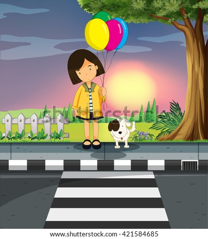 Girl and dog crossing the road illustration