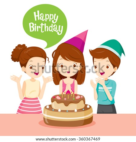 Girl And Friend With Cake On Birthday Party, Banquet, Feast, Celebration, Gift - stock vector