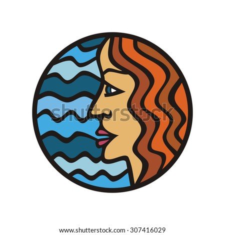 Girl and sea vector illustration - stock vector