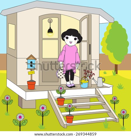 Girl and Summer House illustration - stock vector
