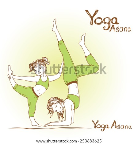 girl and woman doing yoga poses, vector illustration - stock vector
