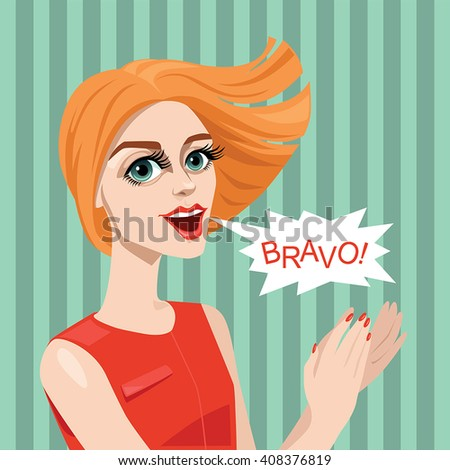 Girl applauds. Vector illustration in cartoon style - stock vector
