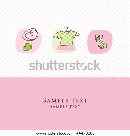 Girl arrival announcement card - stock vector