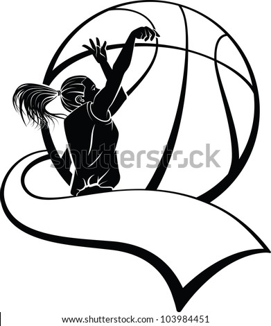 Girl Basketball Shooter with Pennant - stock vector