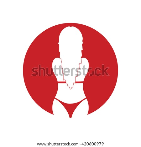 girl beauty in bikini red silhouette illustration - stock vector