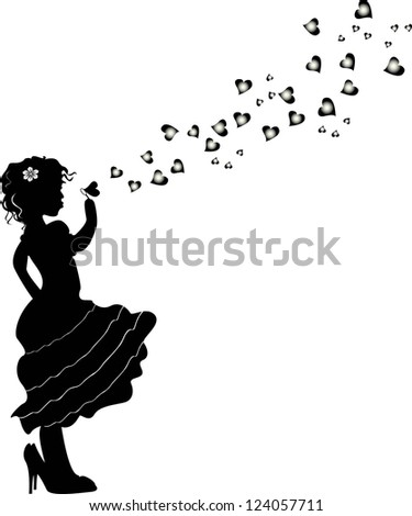 Woman Portrait Silhouette Music Notes Hair Stock Vector