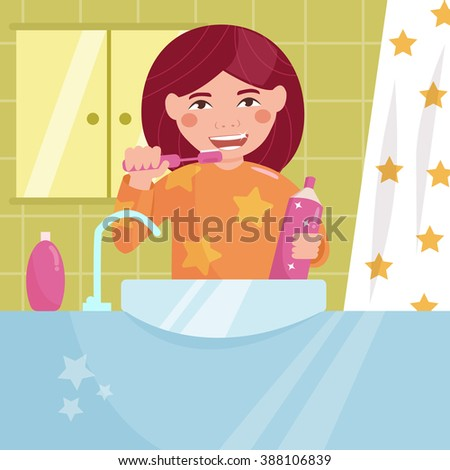 Girl brushing her teeth in the bath. Child. Hygiene.  Vector isolated illustration. Cartoon character.  - stock vector