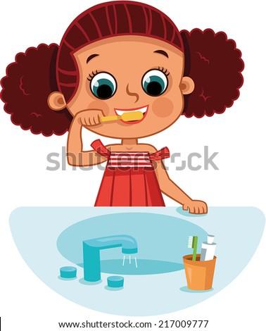 Black Kid Brushing His Teeth