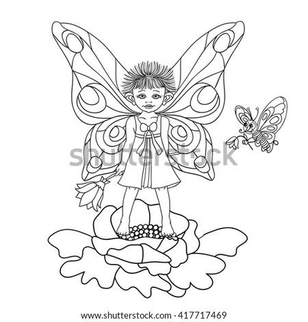 Girl Butterfly - stock vector