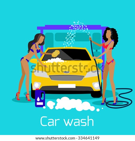 Girl car wash flat concept icon. Auto service clean, cleaning and washing, automobile and water, shower automotive, transport and transportation illustration - stock vector