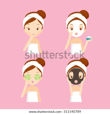 Girl cares and protects her face  with various actions, facial, treatment, beauty, healthy, hygiene, lifestyle, set - stock vector