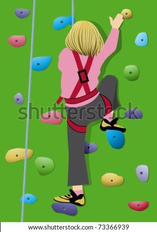 Girl climbing artificial rock - stock vector