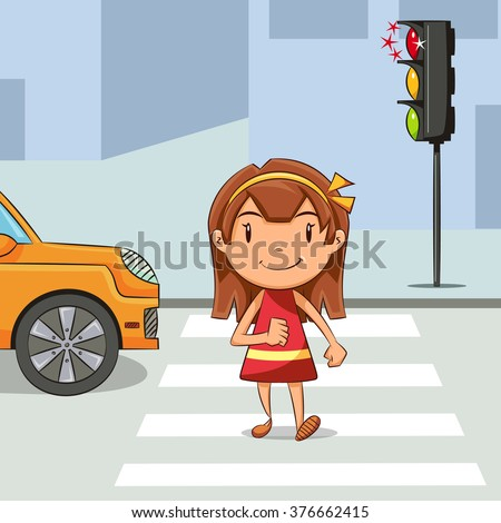 Girl crossing street, vector illustration - stock vector