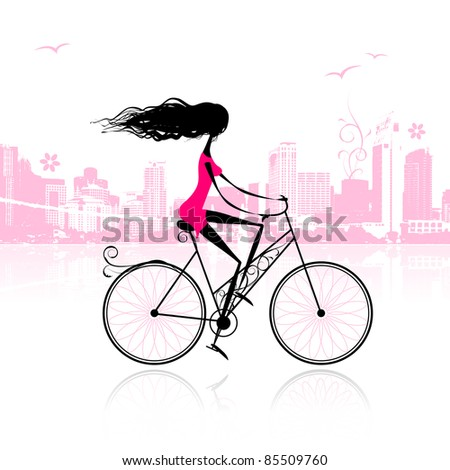 Girl cycling in the city - stock vector