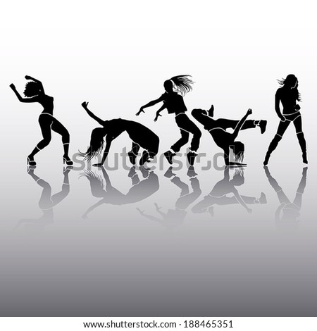 Girl dance energy motion vector - stock vector