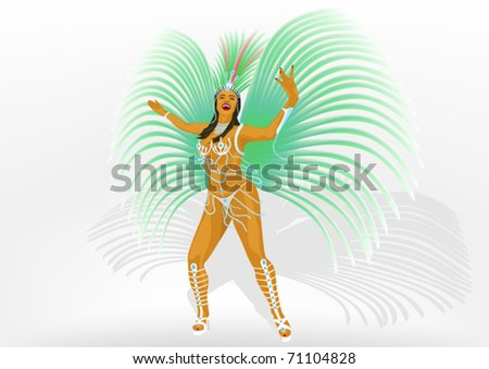 Girl dances samba - stock vector