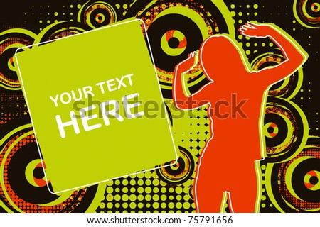 Girl dancing on the dance floor to the music - stock vector