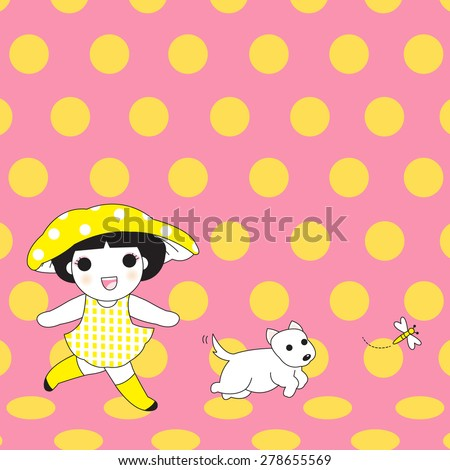 Girl, Dog And Fly character illustration - stock vector