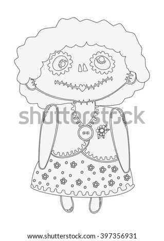 Girl doll with makeup in the style of the day of the dead, halloween cartoon black and white outline drawing, coloring.