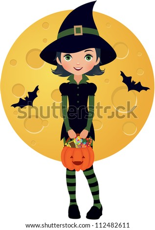 girl dressed as a witch in Halloween/ Little witch - stock vector