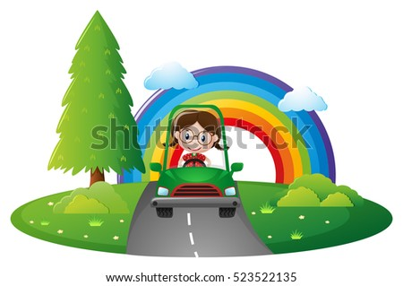 Girl driving green car on the road illustration