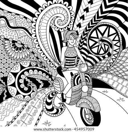Motorbike doodle stock images royalty free images for Doodle art faces