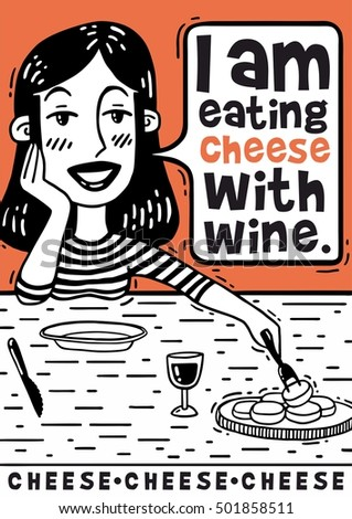 girl eating cheese with wine comics poster
