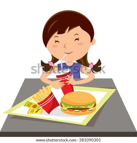 Girl eating fast food. Vector illustration of a little girl drinking soft drink. - stock vector