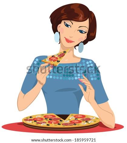 girl eating pizza - vector illustration - stock vector