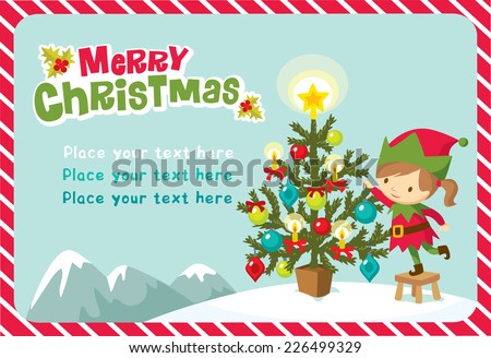 girl elf with christmas tree - stock vector
