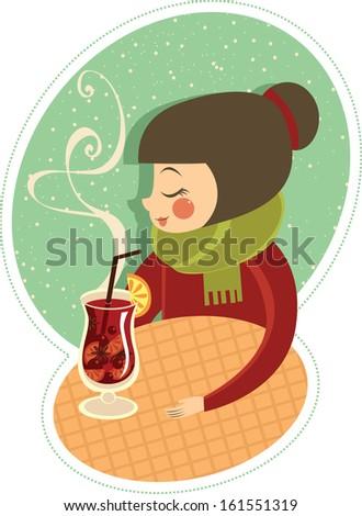 Girl enjoying hot mulled wine in winter cafe - stock vector