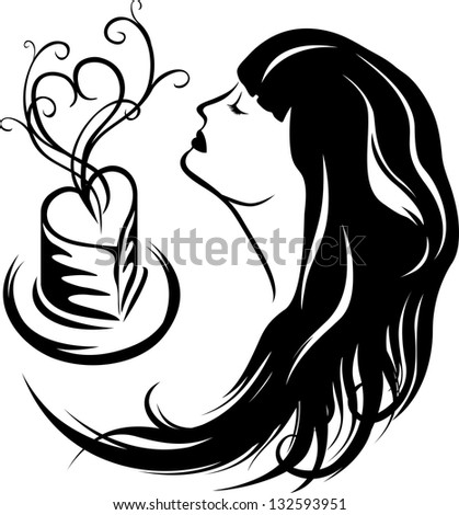 Girl enjoying the aroma of coffee, second variant, black stencil - stock vector