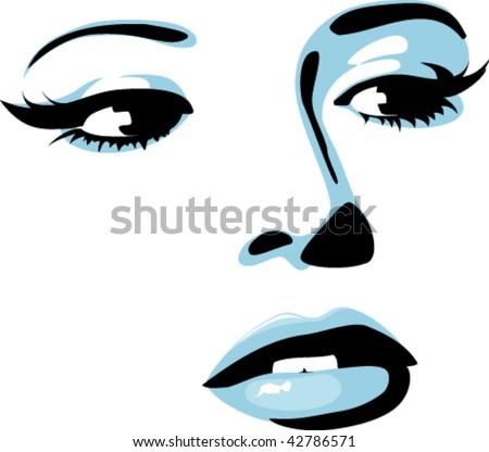 Girl face - stock vector