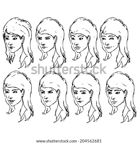 Girl face expressions sketches. Vector illustration - stock vector