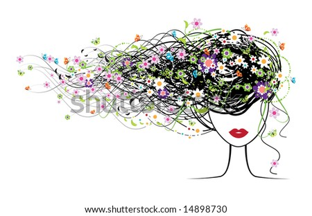 Girl face, floral hairstyle