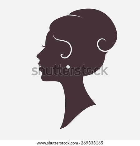 Girl Face Silhouette with Stylish Hairstyle - stock vector