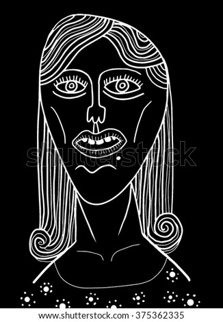 Girl face with white outline - stock vector