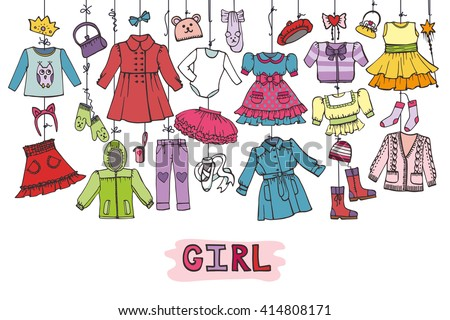 Girl fashion wear hanging on the rope.Baby,teenage wear set. Hand drawing doodles.Essential wardrobe, dress Collection.Skirt,pants,coat,hats.Bright vector,cute clothes illustration.Horizontal Poster - stock vector