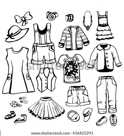 Girl fashion wear set. teenage dress,clothing with shoes,accessories. Hand drawing doodles.Outline Trendy fashion vector Collection.Isolated clothes illustration. - stock vector
