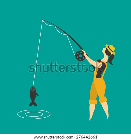 Girl fishing clothing fisherman standing holding a fishing rod and fishing - stock vector